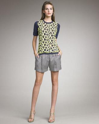 Lela Rose Pleated Striped Shorts