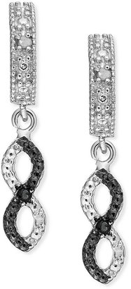Townsend Victoria Sterling Silver Earirngs, Black and White Diamond Accent Infinity Drop Earrings