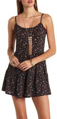 Babydoll Strappy Back Floral Print Dress