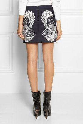 Stella McCartney Embroidered wool and cashmere-blend mini skirt