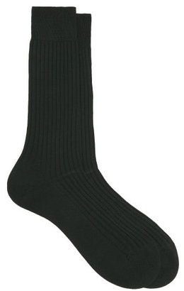 Pantherella Danvers Ribbed-knit Socks - Dark Green