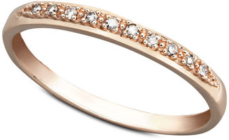 14k Rose Gold Ring, Pave Diamond Accent Band