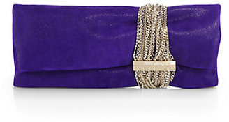 Jimmy Choo Chandra Shimmer Suede Multi-Chain Clutch