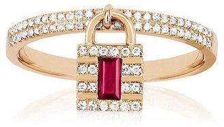 Ef Collection 14ct Rose Gold Diamond And Ruby Lock Charm Ring