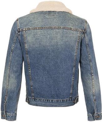 Topman Denim Jacket With Detachable Borg Collar