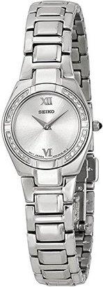 Seiko Women's SUJF09 Diamond Silver-Tone Watch $122 thestylecure.com