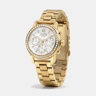 Coach Legacy Sport Gold Plated Crystal Bracelet Watch