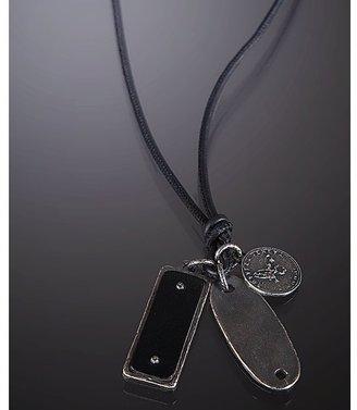 Bottega Veneta black leather cord triple pendant necklace