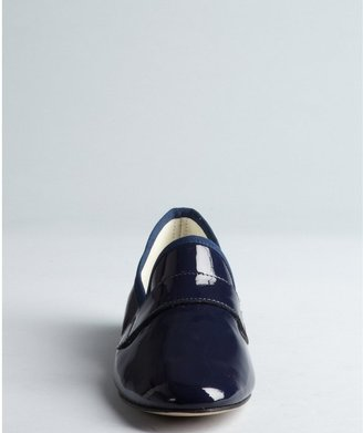 Repetto Navy Patent Leather Grosgrain Trim Loafers