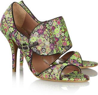 Tabitha Simmons Gaia leather-trimmed silk-brocade sandals