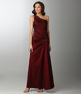Adrianna Papell Ruched One-Shoulder Gown