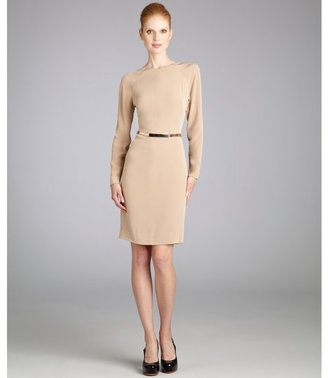 Kaufman Franco KAUFMANFRANCO rose quartz silk and netting long sleeve backless dress