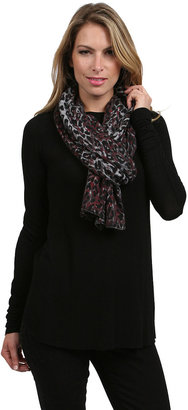 Minnie Rose Cashmere Leopard Scarf in Bordeaux