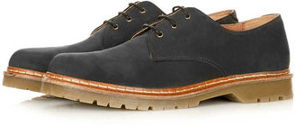 Topman Black Waxed Derby Shoes
