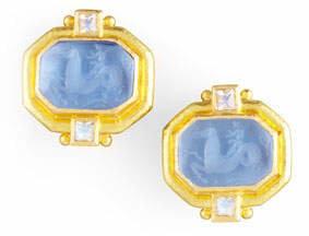Elizabeth Locke Cherub & Sea Horse Intaglio Clip/Post Earrings, Cerulean