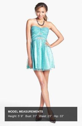 Hailey Logan Mesh Inset Glitter Chiffon Fit & Flare Dress (Juniors) (Online Only)