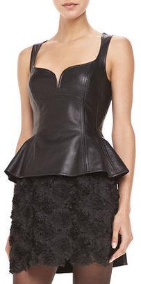 Nanette Lepore Leather Sleeveless Peplum Top