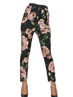 Dolce & Gabbana Rose Print Viscose Cady Leggings