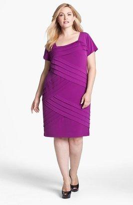 London Times Shutter Pleat Sheath Dress (Plus Size)