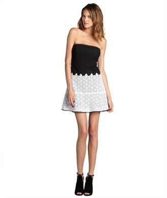 Max & Cleo black and white cotton blend lace 'Alexandra' strapless cocktail dress