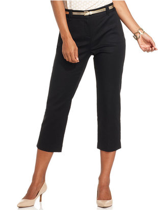 Charter Club Pants, Straight-Leg Cropped Belted