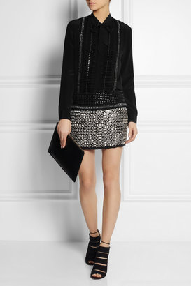 Roberto Cavalli Embellished leather and suede mini skirt