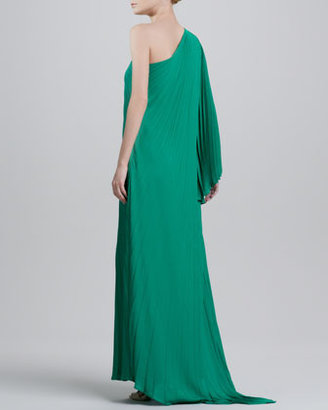 Halston One-Shoulder Pleated Gown