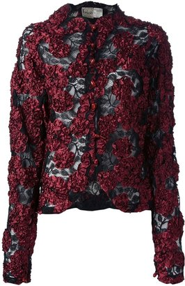 Krizia Pre-Owned appliqué floral lace jacket