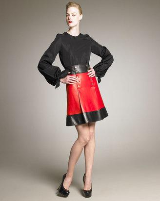 Yves Saint Laurent Leather Sailor Skirt