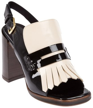 Marni fringed block heel pump