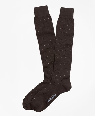 Brooks Brothers Merino Wool Big Dot Over-the-Calf Dress Socks