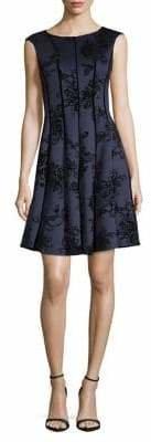 Gabby Skye Velvet Trimmed Fit--Flare Dress