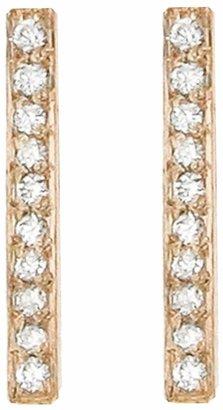 Jennifer Meyer Diamond Long Bar Stud Earrings - Rose Gold