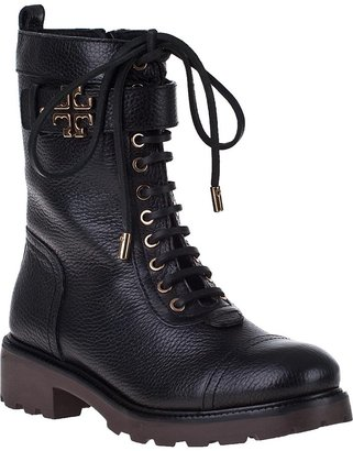 Tory Burch Toby Combat Boot Black Leather