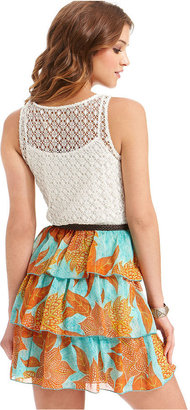 City Studios Juniors Dress, Sleeveless Crochet-Knit Printed Tiered
