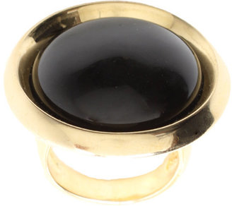 House Of Harlow 14ct Gold Plated Black Resin Dome Ring