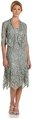 KM Collections Sequined Lace Jacket Dress