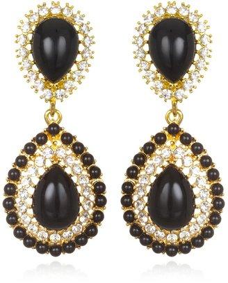Kenneth Jay Lane Black & Rhinestone Resin Drop Earrings