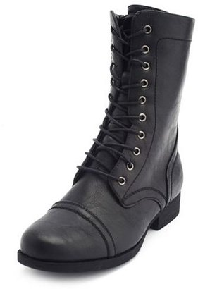 Charlotte Russe Distressed Lace-Up Combat Bootie
