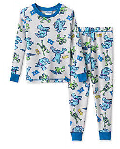 Disney Monsters Inc Boys' 2T-4T White 2-pc. University Thermal Pajama Set