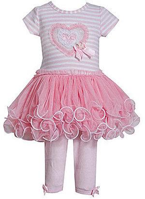 Bonnie Jean 2T-6X Striped-Bodice Heart Dress & Leggings Set