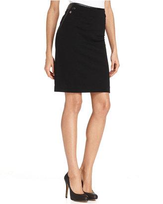 Alfani Skirt, Faux-Leather Trim