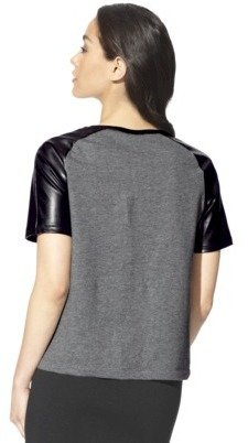 Mossimo Women's Printed Shortsleeve Shirt w/ Faux Leather Sleeve -Black