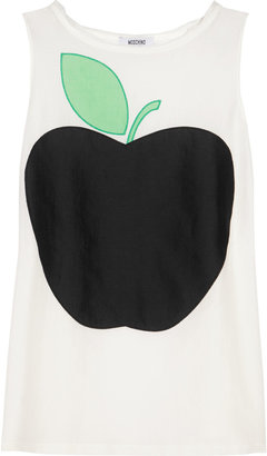 Moschino Cheap & Chic Moschino Cheap and Chic Apple-print cotton and silk-blend top