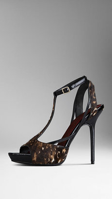 Burberry Animal Print Calfskin Sandals