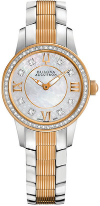 Bulova Accutron Watch, Women's Swiss Masella Diamond Accent Two-Tone Stainless Steel Bracelet 28mm 65R145