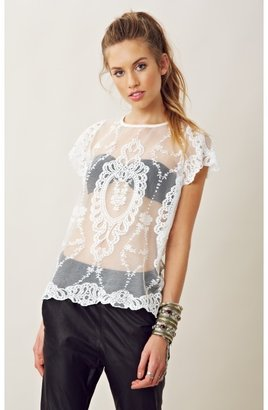for love & lemons SHEER LACE VIENNA TOP