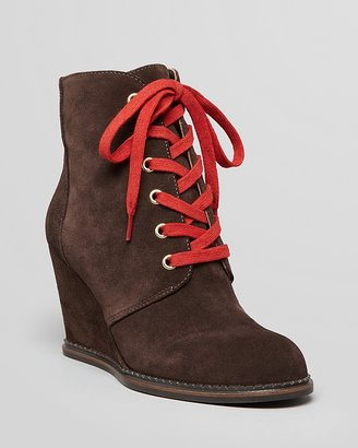Kate Spade Lace Up Wedge Booties - Saundra