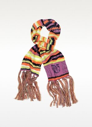John Galliano Striped Wool Long Scarf