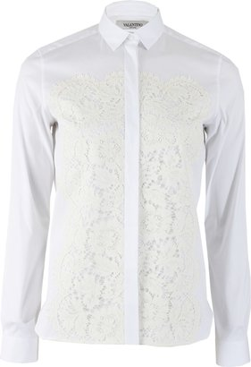 Valentino Long Sleeve Blouse with Lace Paneling